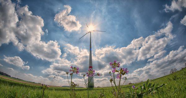 wiatrak na łące i tle pięknego nieba