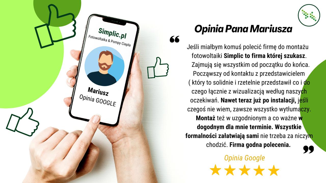 pozytywna opinia Mariusza na temat firmy Simplic